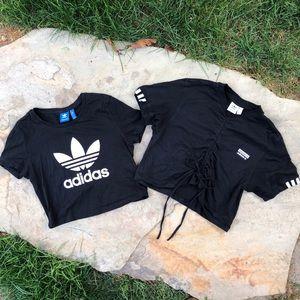 Adidas crop top bundle S/M Black Classic tee cute